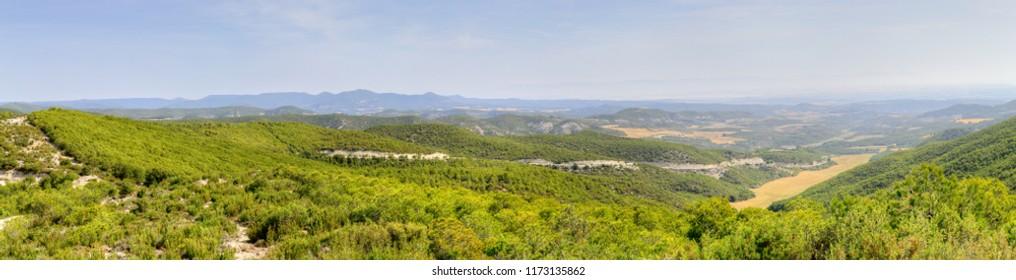 A summer landscape of fields in the Spanish region Aragon from La Palomera viewpoint