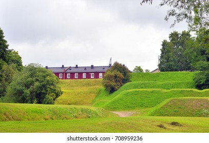 Summer landscape in the fortress of Lappeenranta, Finland.