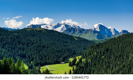 Summer landscape of glacier Marmolada with forest in foreground in a clear morning of August, Dolomites - Italy