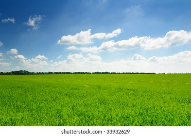 summer landscape of green field with bright blue cloudscape