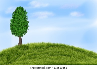Summer landscape with green grass, tree and clouds.
