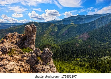 Summer landscape with high rock in Poland, Tatra mountains in Europe.