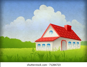 Summer landscape and house
