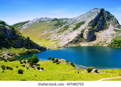 Summer landscape with lake.  Asturias, Spain