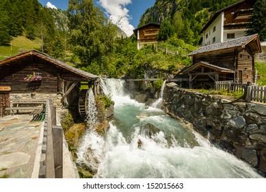 Summer landscape with  mill on wild river, Tirol, Austria.