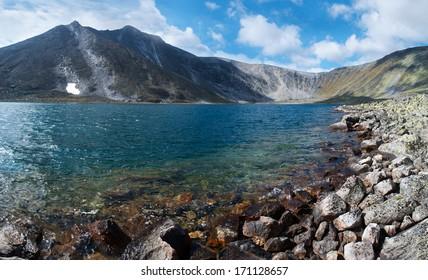 summer landscape of mountain lake