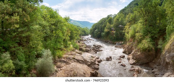 Summer landscape with mountain river. Belaya River in Republic of Adygea, Russia