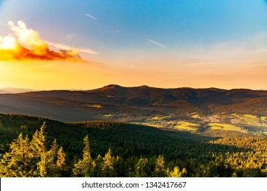 Summer landscape in National park Bayerische Wald,view from the mountain Grosser Osser in National park Bavarian forest, Germany. Sunset sky.