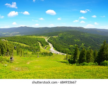 Summer landscape in National park Bayerische Wald, view from the mountain Grosser Arber, Germany.