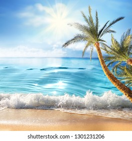 Summer landscape, nature of tropical beach with rays of sun light. Golden sand beach, palm tree,  wave sea water, blue sky with white clouds. Copy space, summer vacation concept.