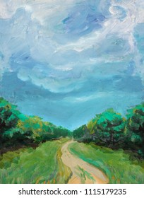 Summer landscape oil painting. Big blue sky, country road and forest.