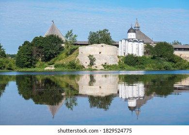 Summer landscape with an old fortress in Staraya Ladoga. Founded in 753. Bank of the Volkhov River. Leningrad region. Russia