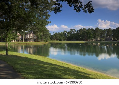 Summer Landscape on the Lake, New Bern, North Carolina, USA
