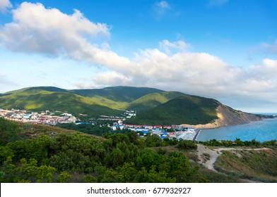 Summer landscape on the mountain and the sea. Sukko, Anapa, Russia.