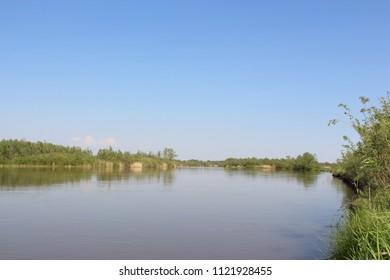 Summer landscape on the river Ob