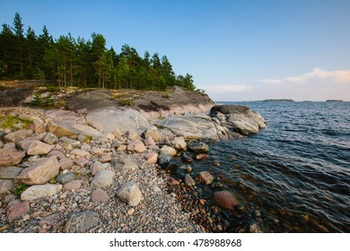 Summer landscape on the rocky shore of Lake Ladoga in the skerries