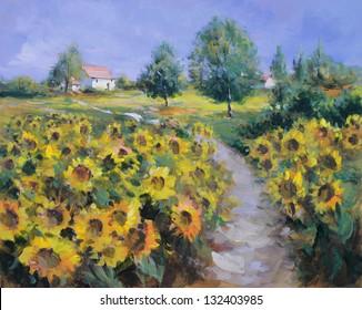 summer landscape painting - oil paints on acrylics