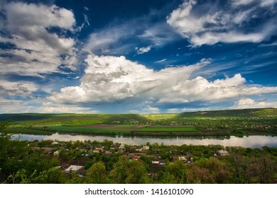 Summer landscape panorama with the river. Dniester river, Moldova. Steadicam shot.