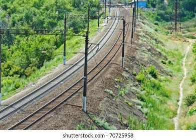 Summer landscape: railroad among green trees