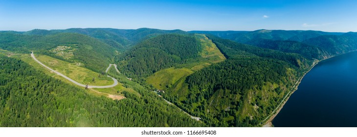 Summer landscape, the river bank Yenisei in Siberia, shooting from air