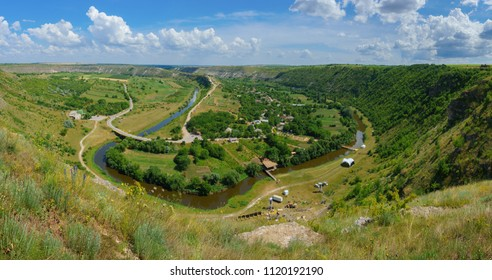 Summer landscape of river canyon and hills at orheiul vechi butuceni village in moldova.