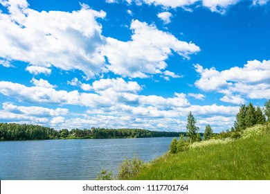 Summer landscape with the river  in the Ivanovo region on a Sunny day, Russia.