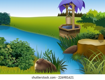 Summer Landscape and Rivulet - Cartoon Background Illustration