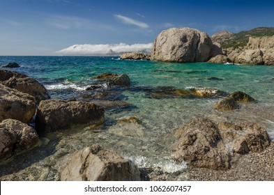 Summer landscape with sea and pebbly beach - a sunny day in the Crimea, Sevastopol