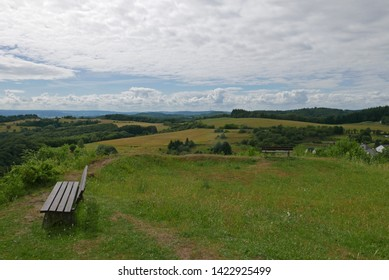 Summer landscape with some clouds in sky in Tringenstein, Hessen, Germany
