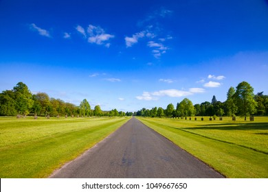 Summer landscape with straight one lane country road in Southern England UK