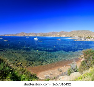 Summer landscape with a stretched sea and mountains, Spain