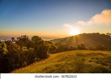 Summer landscape sunrise in the mountains. HDR image, Doi Mon Jong Thailand
