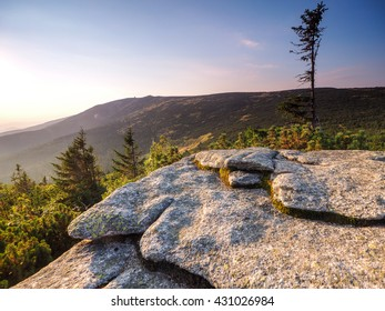Summer landscape from Szrenica in Sudety Mountains, Poland.