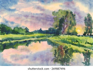 Summer landscape with trees on the shore of the lake at sunset. Painting. Watercolor