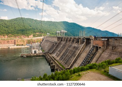 Summer landscape, view of a dam of hydroelectric power station in Rossi on the Yenisei River