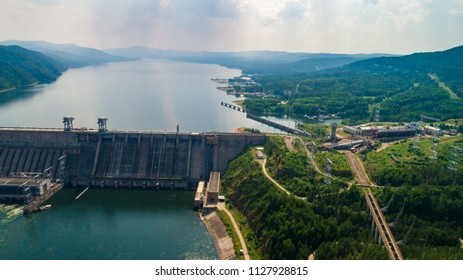 Summer landscape a view of hydroelectric power station in Rossi on the Yenisei River, shooting from air