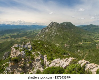 Summer landscape view of low green valley of the pyrenees in the Aude department in France