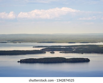 Summer landscape view over the lake Pielinen from the top of the UkkoKoli, a fell at the national park Koli, Joensuu, Finland, the land of a thousand lakes.