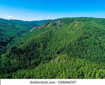 Summer landscape, view of the wood in national park Russia, Siberia, shooting from air