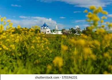 Summer landscape with views of the Suzdal Kremlin. Suzdal - is one of the cities tourist route called Golden Ring of Russia.