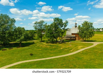 Summer landscape with wooden Nikolskaya Church in Suzdal Kremlin