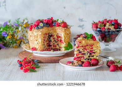 Summer layer Napoleon cake with berries