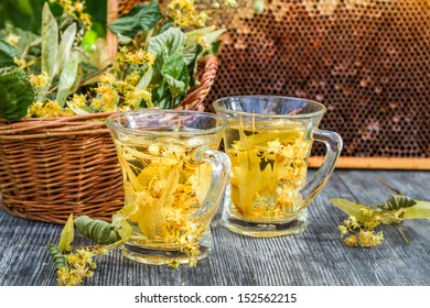 Summer lime tea with honey served in the garden