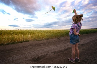 summer - little girl with kite and Ukrainian landscape