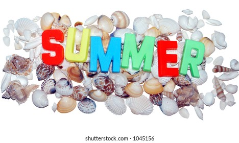 summer in magnet letters with shells