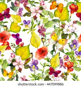 Summer meadow flowers and butterflies. Ditsy repeating floral pattern for wallpaper. Watercolor