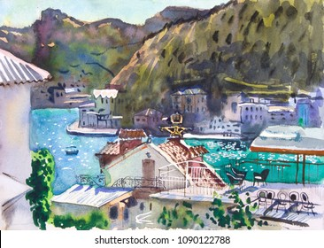 Summer mediterranean bay landscape painting. Hand drawn relaxing watercolor travel illustration. Sunny day, terrace, water, old houses, mountains, boats, yachts. Europe, travel, tourism, vacation.
