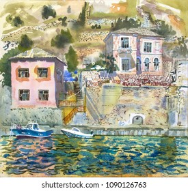 Summer mediterranean bay landscape painting. Hand drawn relaxing watercolor travel illustration.  Sunny day, water, old houses, boats, yachts. Europe, travel, tourism, vacation, beautiful sight.