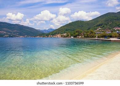 Summer Mediterranean landscape. Montenegro, view of Bay of Kotor(Adriatic Sea) near Tivat city