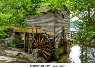 Summer Mill - A close-up full view of Grist Mill in Stone Mountain State Park, Atlanta, Georgia, USA.